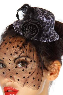 Rockabilly Mini-Hut / Fascinator leopard/schwarz OneSize